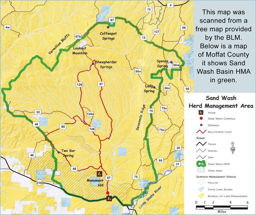 Sand Wash Basin Wild Mustangs In Northwest Colorado HMA BLM Herd - Wash map